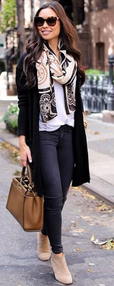 white t shirt with tribal print scarf and dark skinny jeans