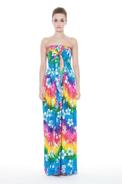 yellow red and blue maxi luau tube dress