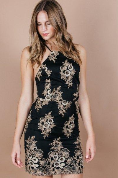 black and blush tribal printed sheath halter top dress