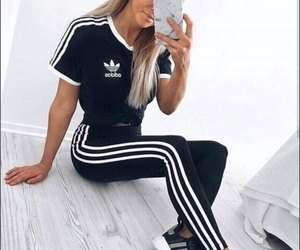 black and white t shirt with matching adidas leggings