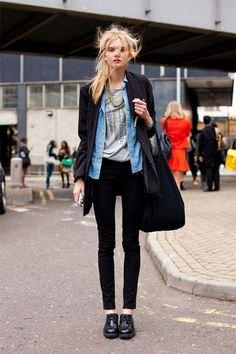 black blazer with chambray shirt and dark skinny jeans