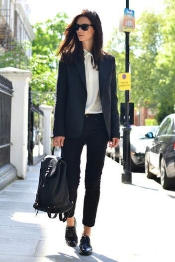 black blazer with white chiffon blouse and buck shoes