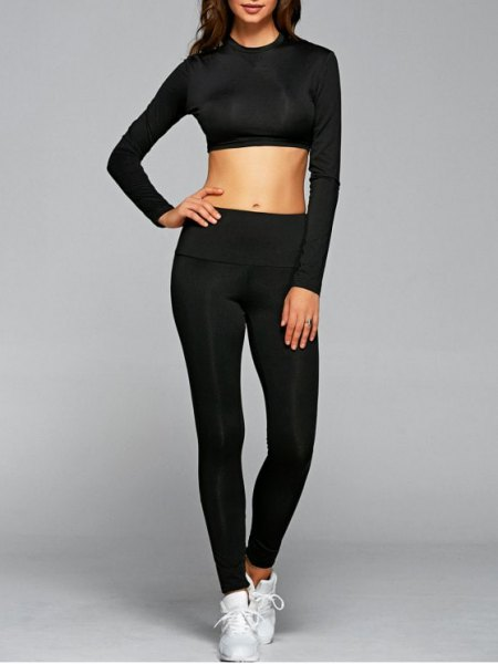 black cropped long sleeve t shirt with leggings and white sneakers