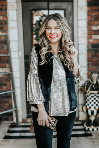 black faux fur vest with pull sleeve silk blouse
