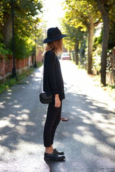 black felt hat with sweater with leather derby shoes