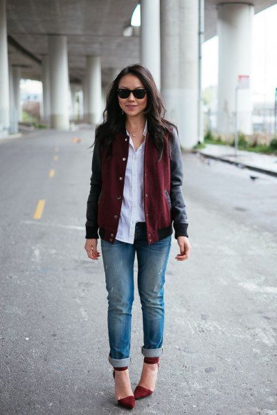 black leather jacket with button up shirt and burgundy pointed toe dress shoes