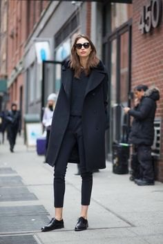 black long wool coat with skinny jeans and leather buck shoes