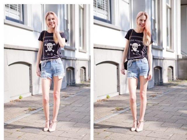 black print tee with light blue denim mini shorts