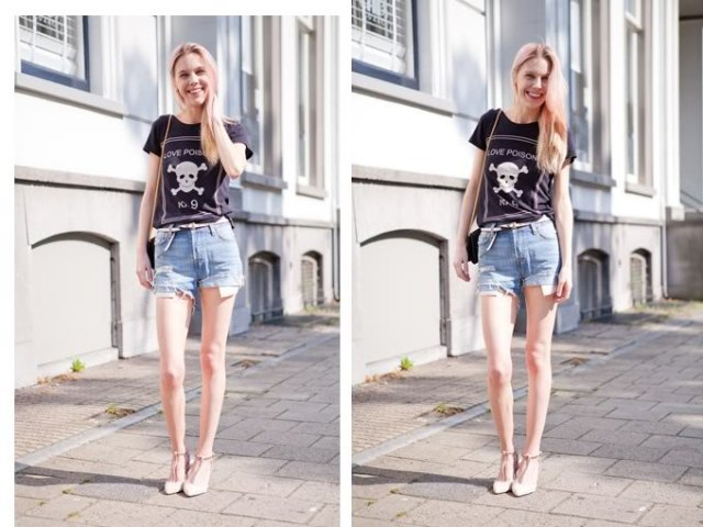 black print tee with light blue denim mini shorts