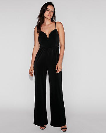 black spaghetti strap sweetheart neckline formal jumpsuit with open toe heels