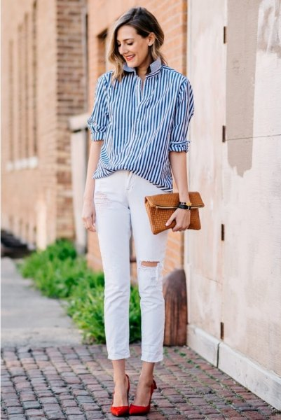 black striped button up shirt with white ripped slim fit cropped jeans