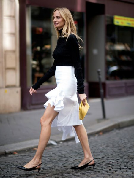 black sweater with white high low midi skirt