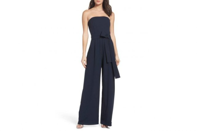 black tie waist tube jumpsuit with silver open toe heels