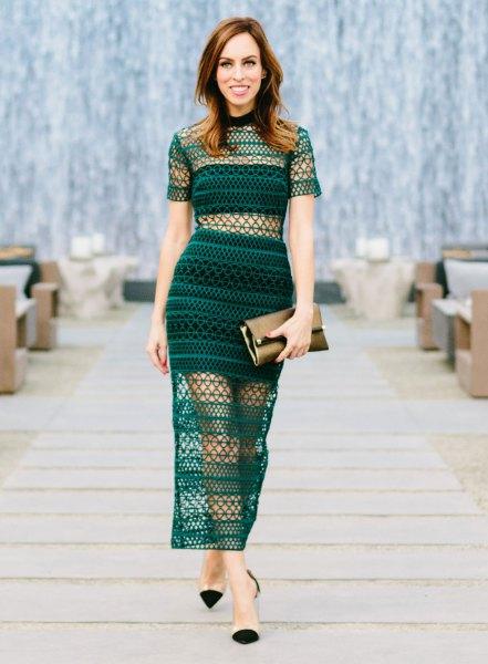 black two layered maxi semi sheer dress with cap toe heels