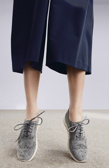 black wide leg cropped pants with grey wingtip suede dress shoes