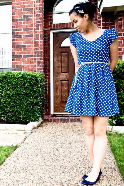 blue and white polka dot belted mini skater dress with navy ballet flats