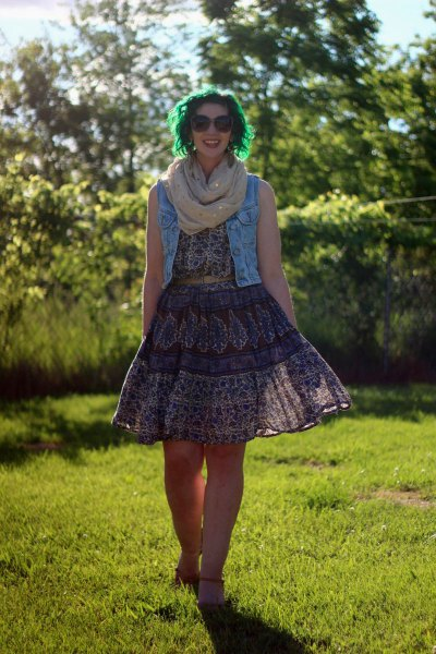 blue denim vest with black lace tribal printed fit and flare dress