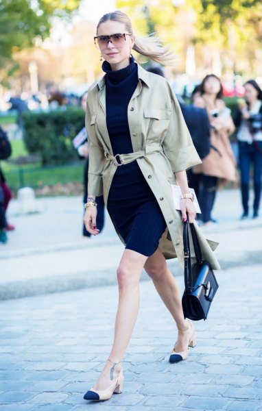 blush belted khaki jacket with black mock neck mini shift dress and low heels