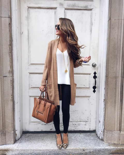 blush pink longline cardigan with white v neck tee and leopard heels
