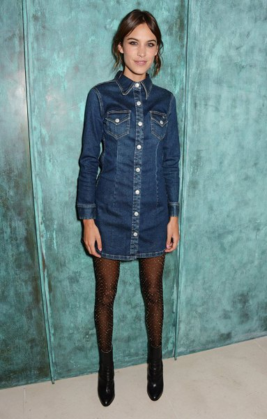 dark blue button up long sleeve denim dress with stockings