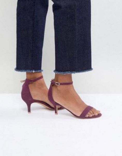 dark blue cuffed slim fit jeans with grey kitten heel sandals