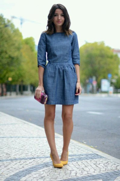 dark blue half sleeve gathered waist mini jean dress with mustard heels