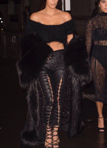 faux fur cropped off the shoulder top with black leather lace up pants