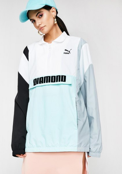 grey and black puma pullover windbreaker with baby blue baseball cap