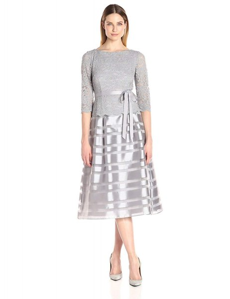 grey and silver fit and flare mid length dress
