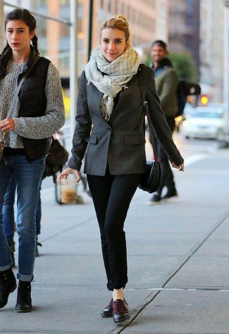grey and white plaid scarf with blazer and cuffed jeans