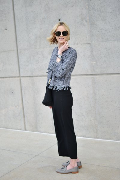grey knit jacket with black wide leg pants and suede loafers