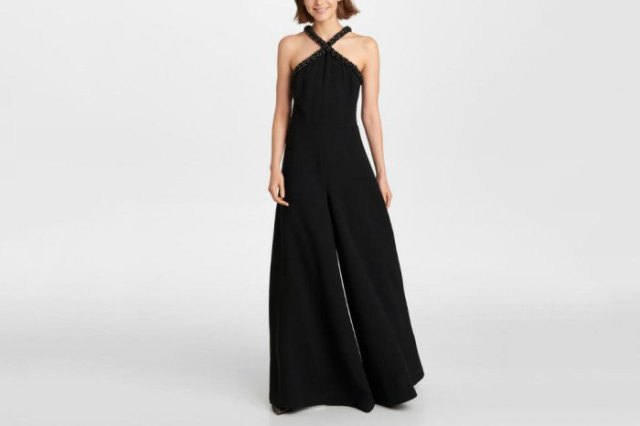 halter neck fit and flare black formal jumpsuit