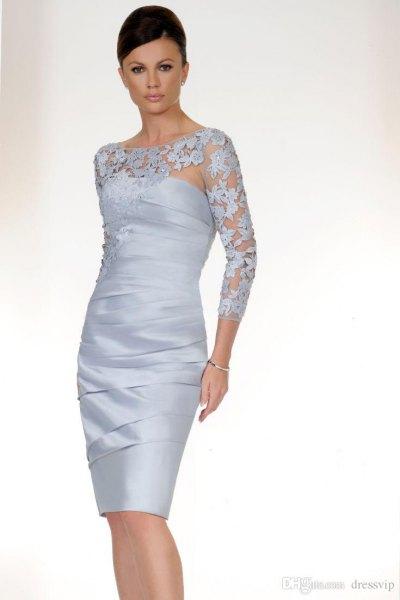 lace semi sheer midi bandage dress