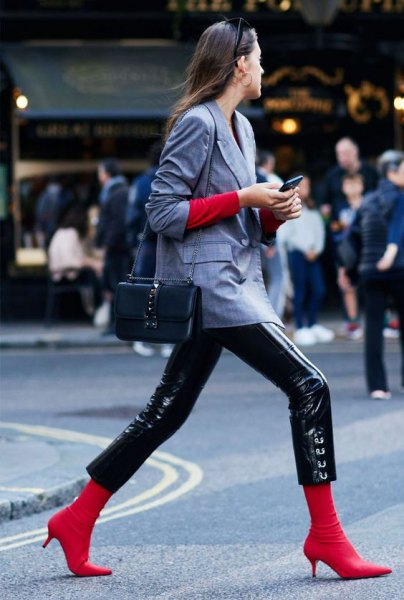 leather pants and red kitten heel boots