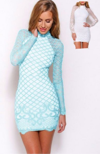 light blue and white criss cross printed long sleeve mini bodycon dress