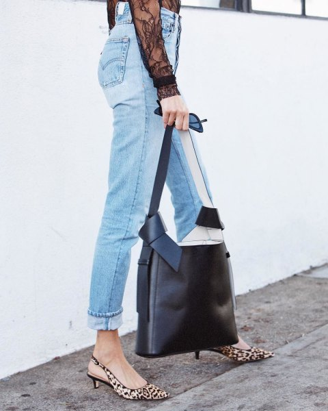 light blue high rise cuffed jeans with leopard print low heels