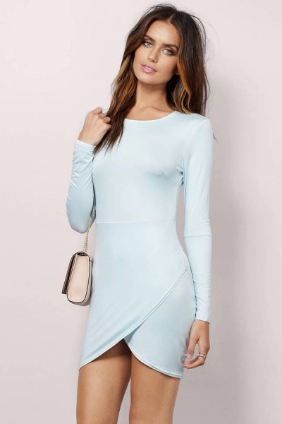 light blue long sleeve mini bodycon wrap dress