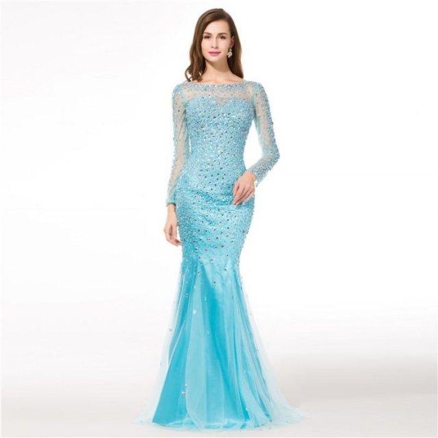 light blue semi sheer neckline long sleeve floor length mermaid dress