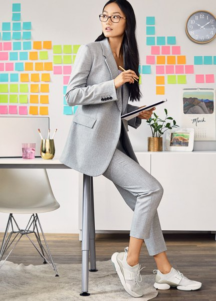 light grey blazer with cropped chinos and low top metallic oxford shoes
