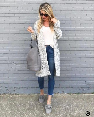longline knit cardigan with white tee and ribbon detailed grey dress shoes
