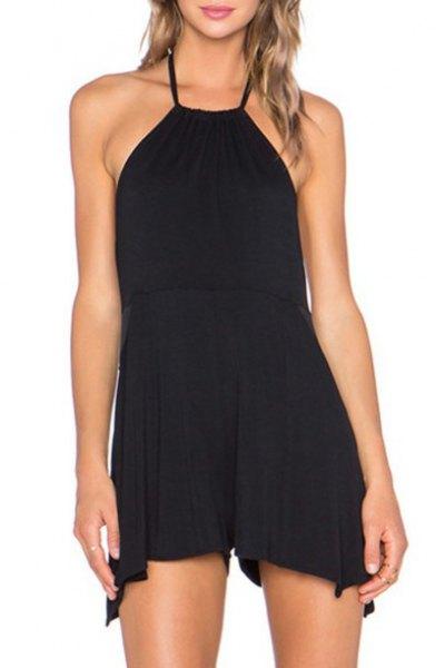 mini black halter shift dress with open toe heels