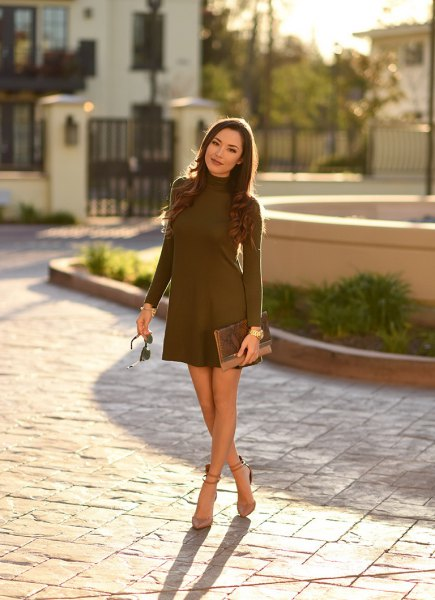 mock neck brown mini swing dress with pale pink ankle strap suede heels