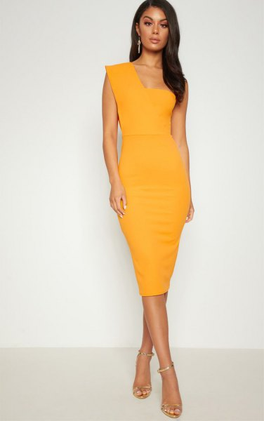 mustard yellow one shoulder bodycon mid length dress with open toe heels