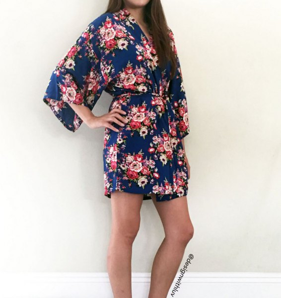 navy blue and grey floral printed chiffon mini robe