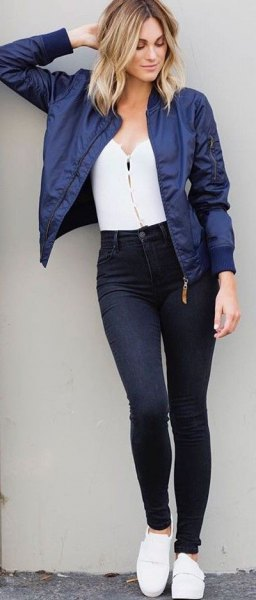 navy blue cropped bomber jacket with white sweetheart top