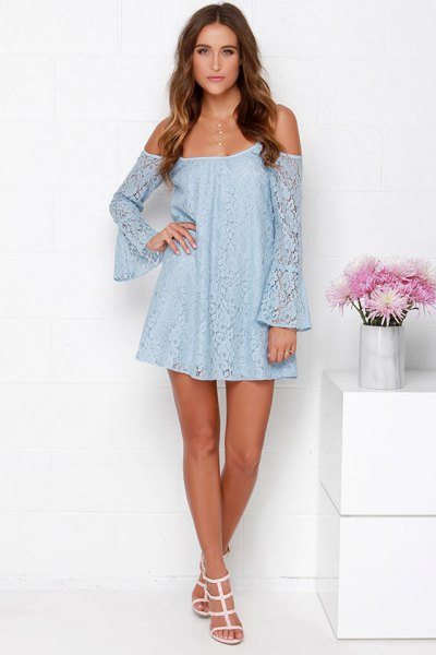 off the shoulder light blue bell sleeve mini swing dress