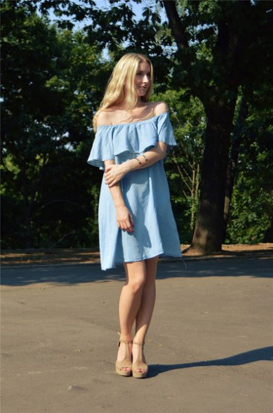 off the shoulder light blue mini shift jean dress with heeled sandals