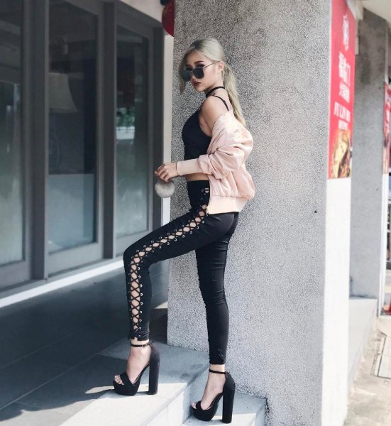 pale pink bombe jacket with black cropped tank top
