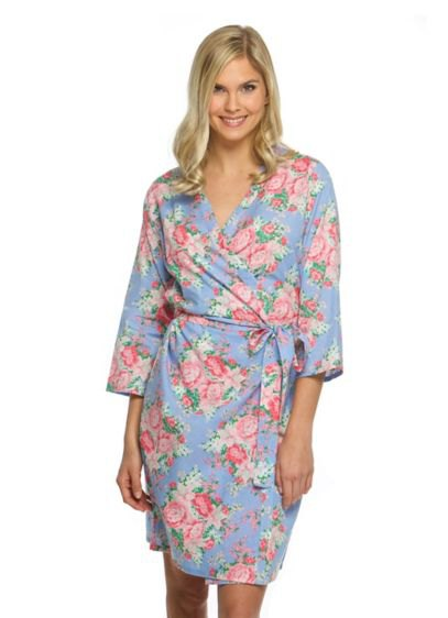 pink and white three quarter sleeve floral robe