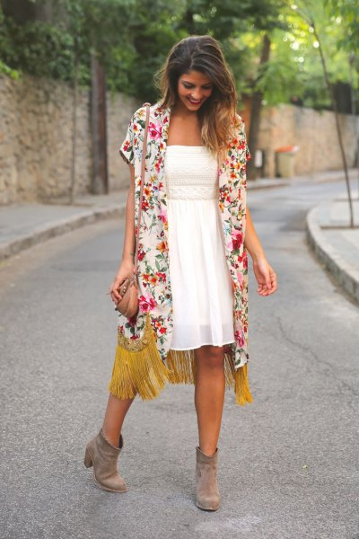 pink short sleeve floral cardigan with white chiffon fit and flare dress